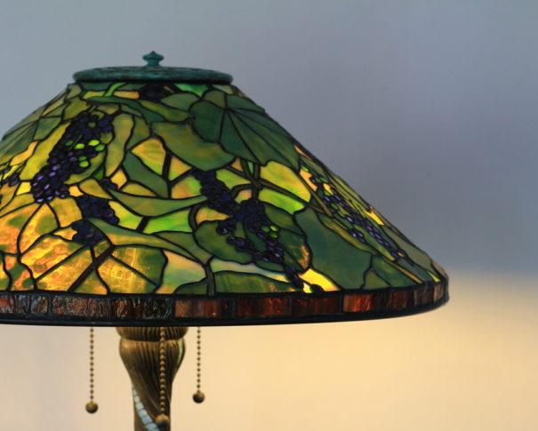 アンティークステンドグラスランプ|グリーン・緑 glass N.